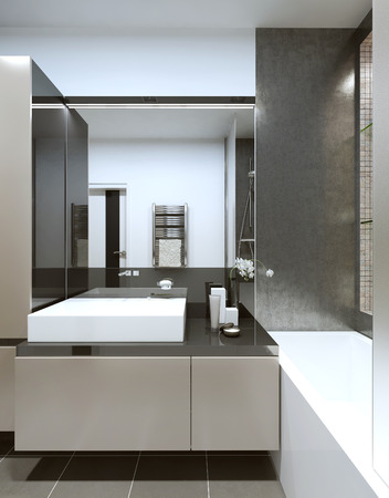 constructivism: Console with sink in the bathroom in the style of constructivism. 3D render. Stock Photo