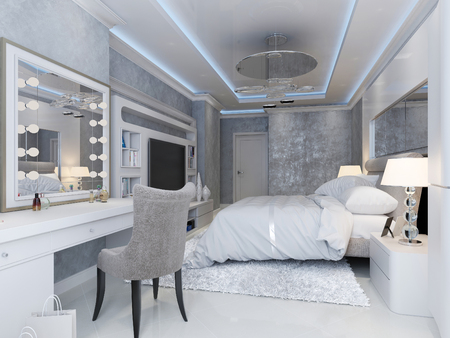 Modern art deco style bedroom, 3d picture