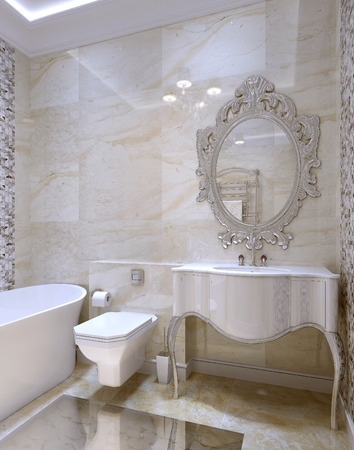 crystal chandelier: Luxury bathroom interior, 3d images