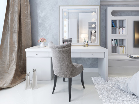 bedroom wall: Dressing table Art Deco style, 3d picture