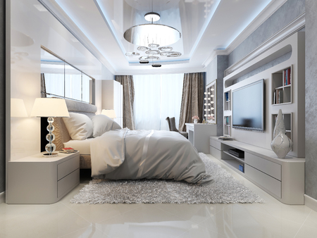 Bedroom in classic and art deco style, 3d picture