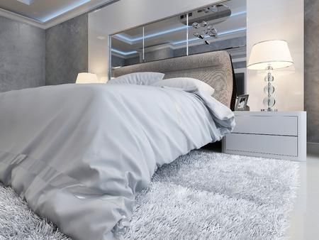 marble: Art Deco bedroom interior, 3d picture Stock Photo