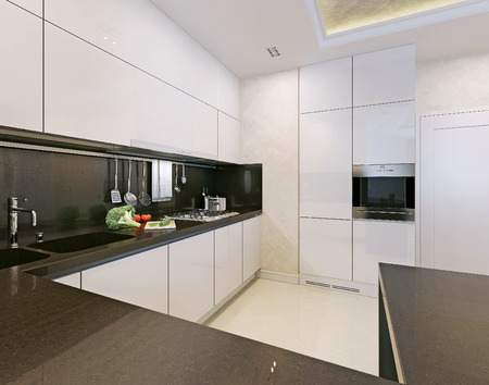 Kitchen modern style. 3d picture Stock Photo