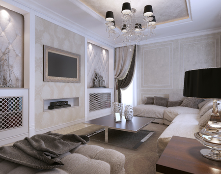 guest room: Guest room avangard style. 3d image