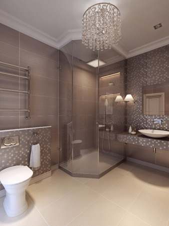 luxurious: Bathroom in the neoclassical style. 3d visualization