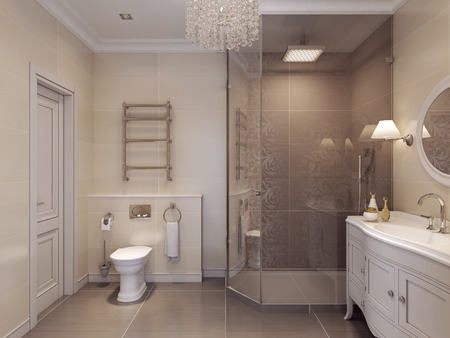 countertops: Luxurious bathroom in the art deco style. Beautiful tile pattern in brown and beige. 3D render. Stock Photo