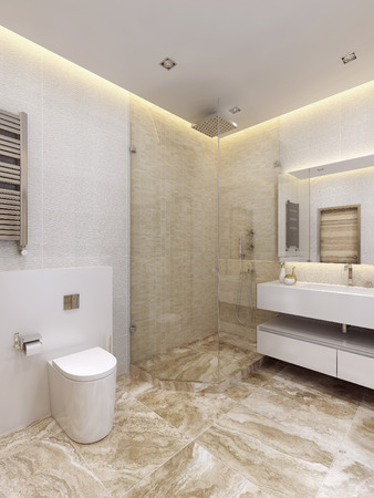 The Bathroom Is In A Minimalist Style In Bright Colors Shower Classy Bathroom Design Colors Minimalist