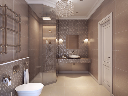Modern bathroom in the art deco style. Shower, WC and Sink Konsoles. 3D render.