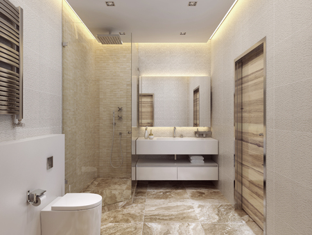 interior lighting: Design Contemporary style bathrooms. Shower and toilet. The yellow, white and beige. Marble floor. 3D render. Stock Photo