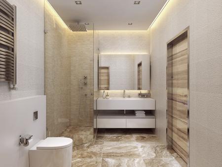 cuarto de baño: Diseñar baños de estilo contemporáneo. Ducha y WC. El amarillo, blanco y beige. Piso de mármol. 3D render. Foto de archivo
