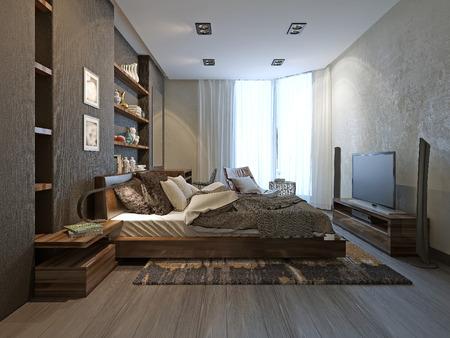 modern interior: Bedroom interior in modern style, 3d model