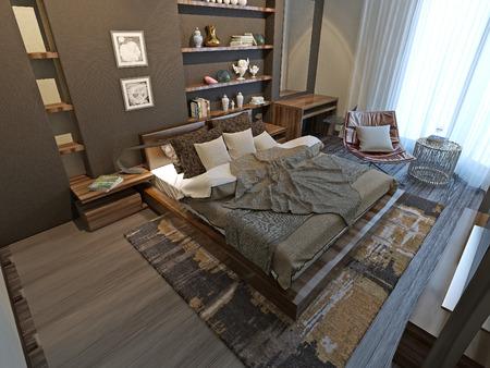 wood room: Bedroom modern style, 3d model