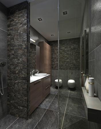 #47512991   Moderne Badezimmer In Schwarzen Fliesen, Mosaik Und Braunen  Möbeln. Mit Dusche, Abstellraum, WC Und Bidet. 3D übertragen.