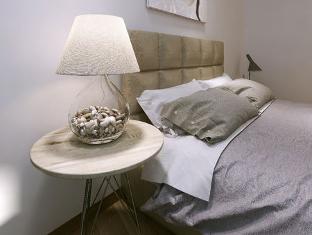 night table: Bedroom modern style, 3d image