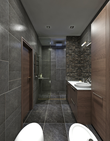 constructivism: The bathroom is in the style of constructivism. Modern bathroom furniture in brown. Black walls in tile and mosaic. 3D render.