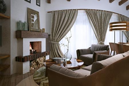 wood room: Living room loft style, 3d image