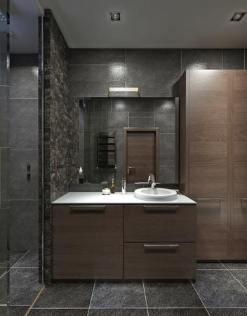 現代様式の浴室の洗面台つきの食器棚。ブラウン、ブラック、グレー。3 D のレンダリング。