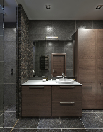 Cupboard with wash basin in the bathroom in the style Contemporary. Brown, black and gray. 3D render. Archivio Fotografico
