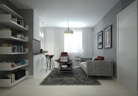 white door: Living room modern style. 3D images Stock Photo