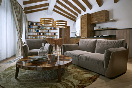 living style: Living room rustic style. 3d image
