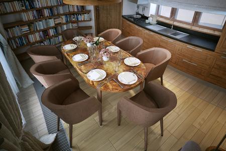 constructivism: Modern style dining, 3d image Stock Photo