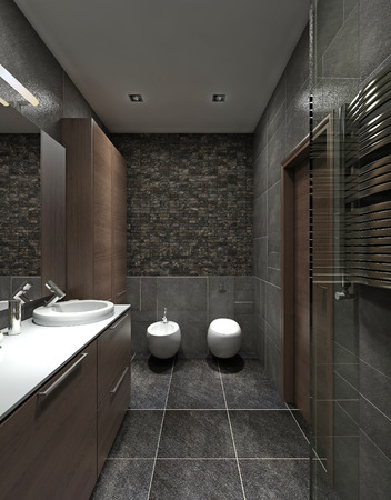 modern bathroom: A bathroom in modern style. WC, bidet and a wardrobe for clothes, a brown and black. 3D render.