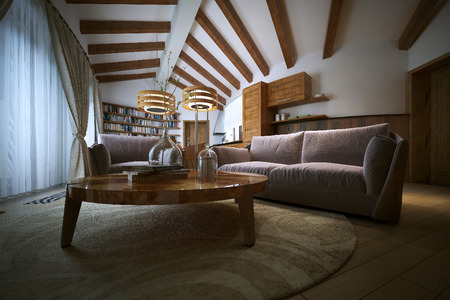living style: Living room in a modern style, 3d image