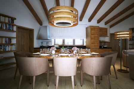 room decoration: Kitchen dining room, loft style, 3d image