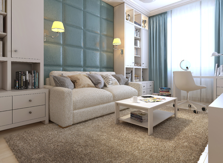 guest room: Guest room eclectic style, 3d images