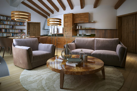 living style: Living room loft style, 3d image