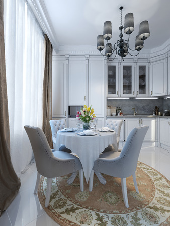 pilasters: luxury kitchen in classical style, 3d images Stock Photo