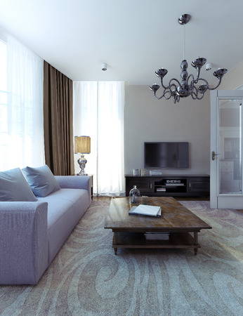 family rooms: Modern living room art deco style. 3d images