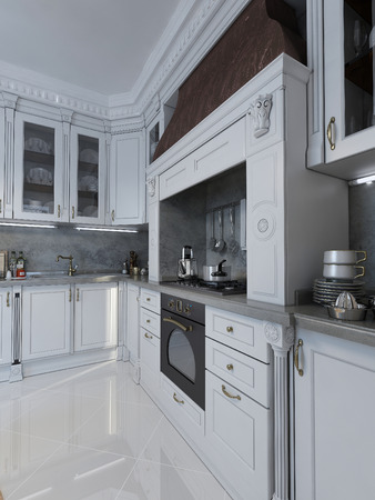 pilasters: luxury Kitchen in neo-classical style. 3d images