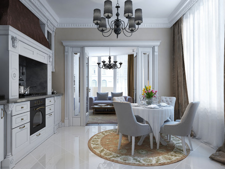 pilasters: Luxury kitchen dining neoclassic style, 3d images