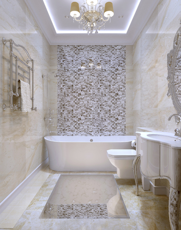 chandeliers: Classical style bathroom, 3d images Stock Photo