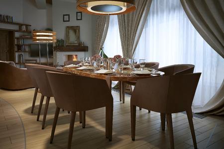 silla de madera: comedor de estilo rústico, la imagen 3D