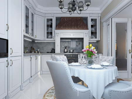 pilasters: Kitchen dining classical style, 3d images Stock Photo