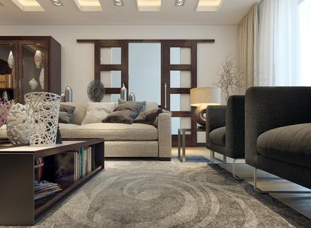Salón estilo moderno. Imágenes en 3D