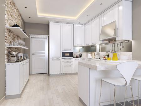 cocina de estilo moderno, imágenes 3d