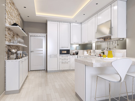 interior lighting: kitchen modern style, 3d images Stock Photo