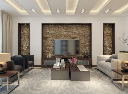 Living room modern style. 3D images Standard-Bild