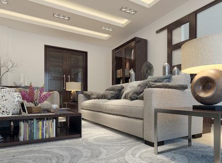 modern living room: Living room modern style. 3D images Stock Photo