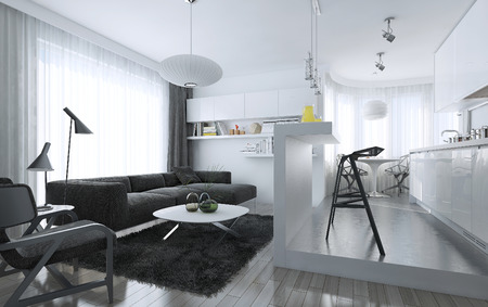 Apartment studio modern style, 3d images