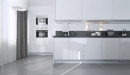stile: Bianco cucina in stile contemporaneo, le immagini 3D Archivio Fotografico