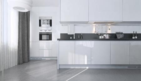 coiffer: Cuisine blanche style contemporain, les images 3D