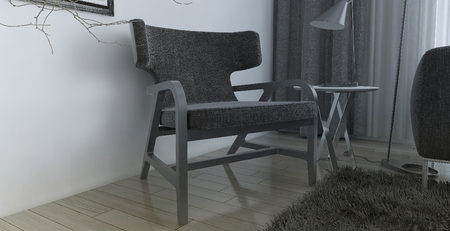 modern chair: Modern interior of living room, 3d images Stock Photo