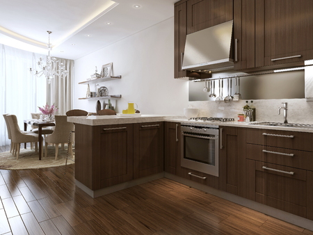recessed: kitchen and diner neoclassical style, 3d images Stock Photo