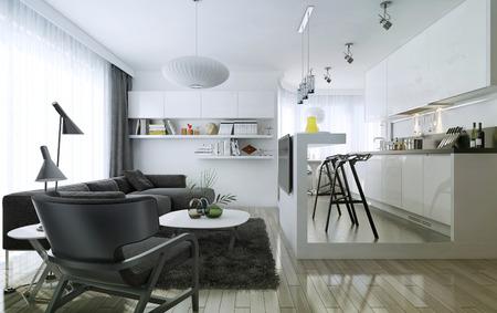 アパート スタジオ モダンなスタイル、3 d 画像 写真素材