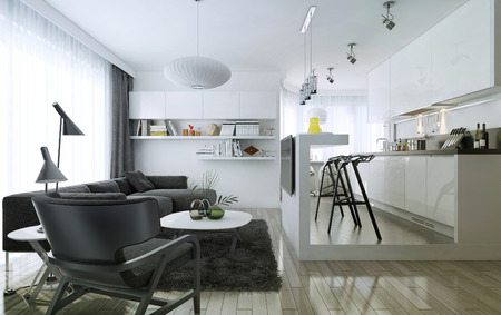 apartment: Apartment studio modern style, 3d images