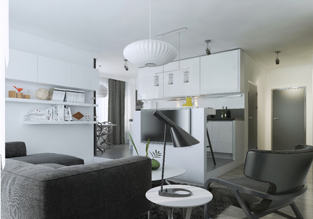 living room: Apartment studio modern style, 3d images
